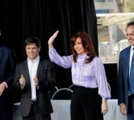Cristina se mostró junto a Randazzo, Kicillof y Scioli. Foto: Telam