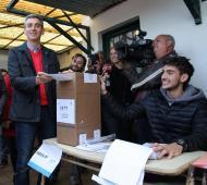 Randazzo, al votar en Gonnet. No pudo vencer en sus pagos. Foto: Twitter Florencio Randazzo.