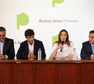 Vidal junto a sus ministros durante el anuncio días atrás.