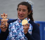 Ameghino en el podio con su oro y lágrimas en los ojos. Foto: La Noticia 1.