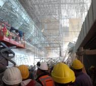 Derrumbe en las obras del aeropuerto de Ezeiza. Foto: Twitter