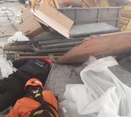 Derrumbe en las obras del aeropuerto de Ezeiza