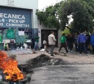 La protesta de los trabajadores en la fábrica. Foto: InfoRegión.