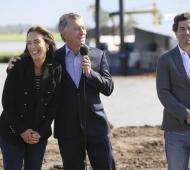 """""""Vidal y Macri, el gato, terminan la obra del Arroyo El Gato"""", bromeó el presidente en acto en Roque Pérez"""