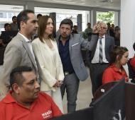 Vidal y Tagliaferro en el centro de monitoreo de Morón.