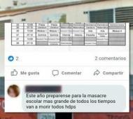 La amenaza del joven en el Facebook del colegio. Foto: Facebook