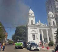 La catedral incendiada en enero de este año.