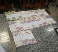Parte del dinero secuestrado.