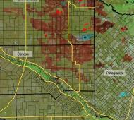 Los puntos rojos son los focos de calor del lunes 2 de enero por la mañana. Imagen: INTA