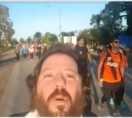 Ottavis grabó un video en plena peregrinación a Luján.