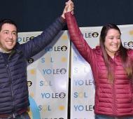 Nardini, intendente de Malvinas Argentinas, con Sol Jiménez quien se impuso con Unidad Ciudadana. Foto:Prensa