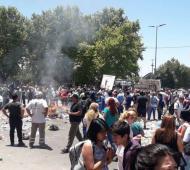 Protesta de trabajadores municipales en Moreno.
