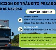 Restricción de camiones por el fin de semana largo de Navidad en rutas de la Provincia
