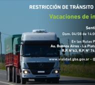 Restricción de tránsito pesado por el recambio turístico en Provincia