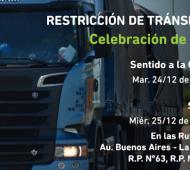 Restricción de camiones por Navidad en rutas de la Provincia de Buenos Aires