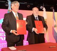 Firma del Tratado del Caldén entre Rodríguez Saá y Verna