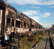 Incendio en tres coches del Tren Roca.