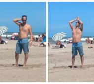 Tagliaferro disfruta de la playa en Pinamar: Foto:Pinamar24
