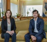 Vidal y Echarren reunidos en la sede porteña del Banco Provincia. Foto: Comunicación PBA