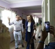 Vidal con el intendente de General Alvear, Alejandro Cellillo