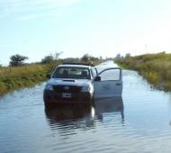 Un camino anegado en Charlone, una de las localidades afectadas por las lluvias.