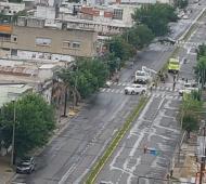 En San Nicolás trabajan para remover los árboles caídos. Foto: LaNoticia1.com