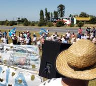 Ruta 9 - Km 153: El lugar del emblemático piquete de 2008 nuevamente convocó a productores de la zona. Foto: La Noticia 1.