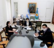 Valeria Dallera, Axel Kicillof y Juan Cuattromo