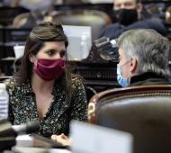 Daniela VIlar junto a Máximo Kirchner